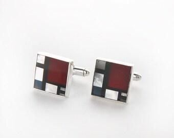 Mondrian Inspired Sterling Silver Cufflinks