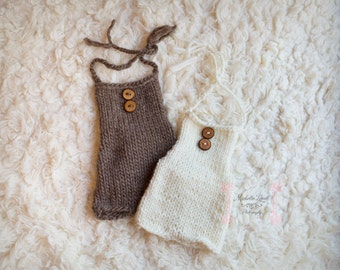 Newborn Button Romper, Choose Cream or Brown