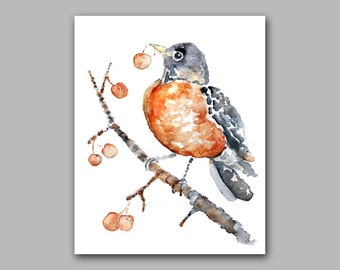 Watercolor bird, Robin Print, Bird Art, Dorm Art, Autumn Art, Autumn Decor, Robin, woodland decor