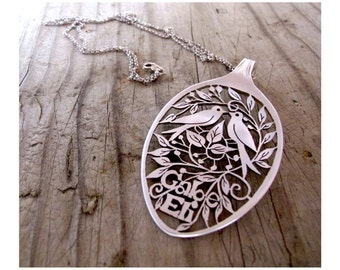 Customized Personalized Swallow Sparrow Statement spoon Pendants Necklaces Handmade Custom Made Silver Bird Swallow Sparrow Necklace Jewelry