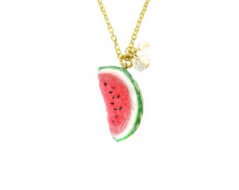 Watermelon Necklace - Bronze - Miniature Food