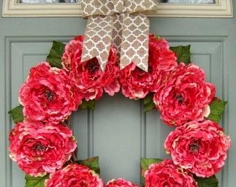 Summer Wreath - Summer Peony Wreath - Summer Door Wreath