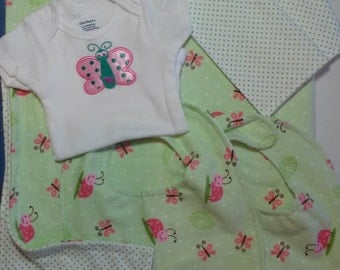 SALE Baby Flannel Layette Set 6 Piece Blanket Onesie Bibs and Wash Cloths Butterflies and Lady Bugs Ready to Ship