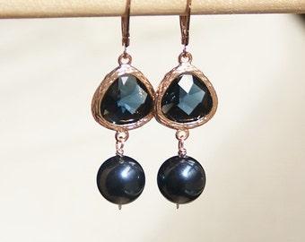 Handmade Rose Gold Earrings Rose Gold Navy Earrings Swarovski Night Blue Earrings Dark Blue Earrings Rose Gold Blue Earrings Dark Blue Pearl