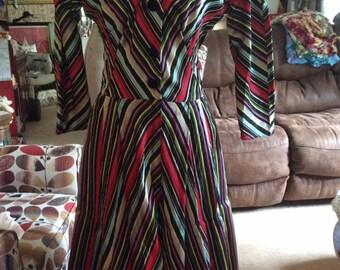 Vintage 1950s Dress Stripes Black Velvet Maxan Label I Love Lucy Style