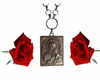 Virgin Mary pendant necklace, Mother and Child pewter pendant necklace