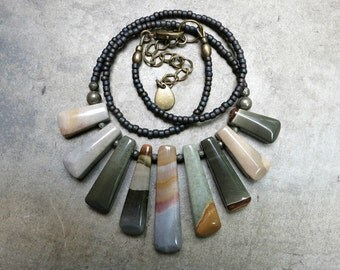 Blue Green Jasper Necklace, rustic Bohemian tribal style succor creek jasper statement necklace with graduated stone fan