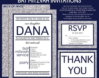 Navy Blue and Silver Glitter Bat Mitzvah Invitation - Save the Date Card - RSVP Card - Thank You Note - Envelope Addressing