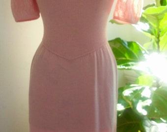 70s ST. JOHN for I. Magnin--Blush Pink Sweater Dress--Santana Knit--Size 6