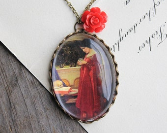 The Crystal Ball Necklace. John William Waterhouse. (magnifying pendant art book illustration jewelry antique romantic jewellery)