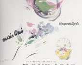 Vintage Fashion Magazine Advertisement French Vogue April 1950 Ad Paris Mais Oui Perfume Bourjois Fashion Illustration Haute Couture