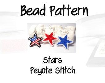 Bead Patterns Patriotic Stars, Peyote or Brick Stitch, Delica Seed Beads | DIGITAL DOWNLOAD
