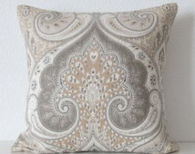 Ethan Allen anjali gravel latika limestone medallion linen gray taupe decorative pillow cover accent pillow