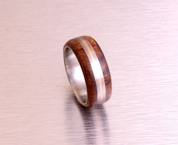 how to make a metal ring with wood inlay