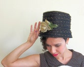 Vintage 1960s Black Bucket Hat with Flower / 60s Tall Hat witih Metallic Gold Accents /