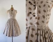 1950s Coffee Bean gingham cotton dress / 50s mocha latte