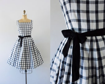 1960s Grid Lines plaid cotton dress / 60s black & white