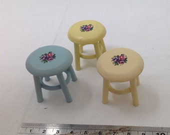 Dolls House Miniatures - 1/12th Hand Painted Stool designs