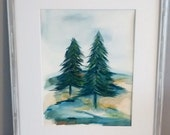 Original Watercolor painting 11x14   Landscape abstract watercolor painting   Fine Art Green, Blue, yellow,navy, lime, tan
