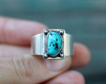 Unisex Turquoise Ring. Size 11 - 11.5. Sterling Silver. One of a kind.