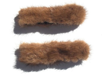 50s salvaged fur wrist cuffs craft supply sewing supplies mid century 1950s animal fur DIY accessory one size