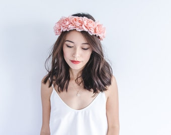 pale pink floral large statement rose crown headband - halo, santa monica, wedding headpiece, flower hair wreath, festival, summer.