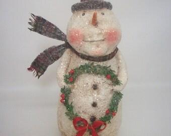 Snowman Folk Art Paper Mache