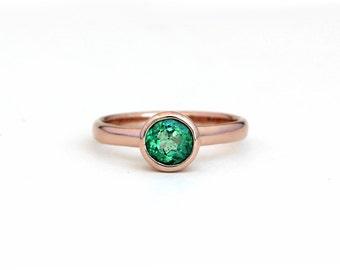 Natural Colombian Emerald Princess Ring - 14k Rose Gold, Yellow Gold, Palladium White Gold, 950 Palladium - Engagement Wedding Promise Ring
