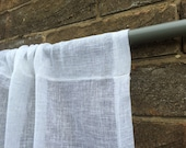 Small White Linen Curtain, Bedroom Panel, Light Privacy Window Shade