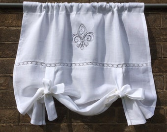 "Optical White Flax Linen French Tie Up Window Curtain with Monogram, Fleur de Lis Roll up Shade, Machine Embroidery, 28"" Length"