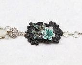 Steampunk Bird Bracelet, Black Victorian Bracelet, Gothic Handmade Bracelet, Nature Jewelry, Totem Jewelry, Artisan Jewelry - BB4