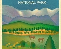 Great Smokey Mountain Poster, National Park Art, Tennessee Print, Smokey Mountain skyline, Smokey Mountain map, Art - style E8-O-GR-SMO