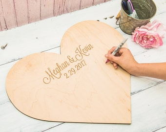 Wedding Guestbook Personalized Wooden Heart - Guestbook Alternative for Wedding, Wooden Heart Engraved with Names (Item - GBH200)