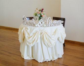 Bride and Groom Wedding Signs for Sweetheart Table Decor - Wooden Signs, Wooden Letters, Freestanding Bridal Table (Item - TBG100)