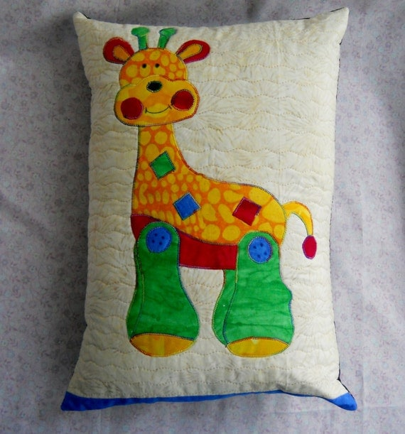 Zoo Animal Pillows : Quilted Giraffe Pillow Zoo Pillow Jungle Pillow Circus Pillow
