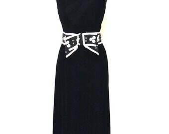 SALE vintage velvet evening gown dress - 1960s Sandine Originals black velvet/polka dot bow long formal maxi dress