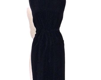 SALE vintage velvet dress - 1950s Prelude black belted button-back dress