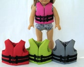 """Toy Life Jacket for 18"""" Doll / 15"""" Doll - American Sized and Bitty Sized Life Vest- Pink, Green, Red, Grey Lifejacket for AG doll"""
