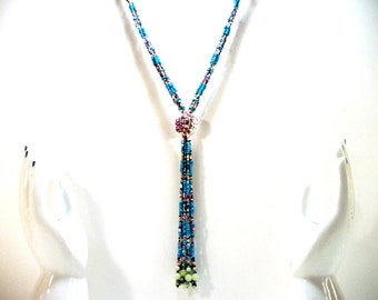 Turquoise tassel necklace glass seed beaded slip on fashion jewelry everyday fashionable colorful fun for women