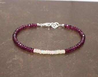 Rhodolite Garnet and Ethiopian Opal Bracelet, Opal Jewelry, Welo Opal, Gemstone Bracelet, October Birthstone