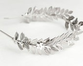 Silver leaf crown - Silver bridal headband - Wedding tiara - Silver headpiece