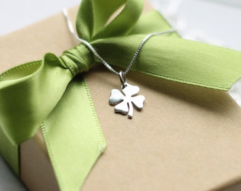 Tiny Four Leaf Clover Charm Necklace, Sterling Silver Shamrock Charm, St. Patricks Day, Irish, Lucky, Shamrock Necklace