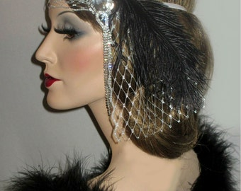 SILVER FRENCH MYSTIQUE - 20s Old Hollywood Headpiece, Great Gatsby Headband, Crystal & Silver French Net Forehead Band, 20s Bridal Headpiece