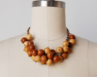 vintage 1930s necklace / 30s wood necklace / wood beaded necklace / Molecular necklace