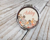 Personalized Bridesmaid Gift Compact Mirror - Heart Bubbles