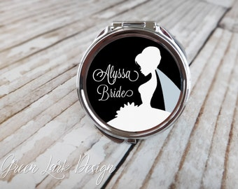 Brides Personalized Compact Mirror - Bridal Gown In Black - Choose Your Color