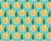 Tropical Pineapple Fabric by the Yard - Turquoise Blue Green Geometric Hawaiian Pineapple Print in Yard & Fat Quarter