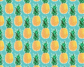 Tropical Pineapple Fabric by the Yard - Turquoise Blue Green Geometric Hawaiian Pineapple Print in Yard & Fat Quarter