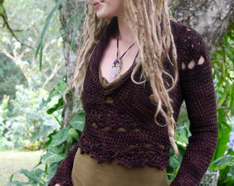 Cropped Merino Wool Crochet Mandala Long Sleeved Jumper Sweater
