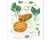 Green garden vegetable pie recipe print, 8X10 print, Watercolor painting, Kitchen art, Food artwork, Veggie illustration, Kitchen wall decor